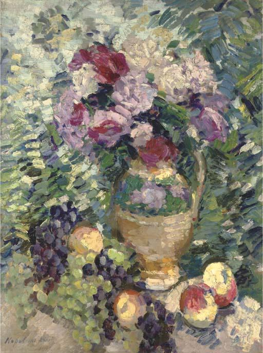 famous painting A basket of flowers of Konstantin Alekseyevich Korovin