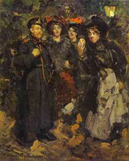 famous painting A Boulevard of Konstantin Alekseyevich Korovin