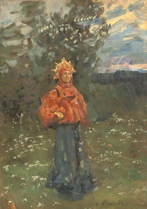 famous painting A Russian maiden of Konstantin Alekseyevich Korovin
