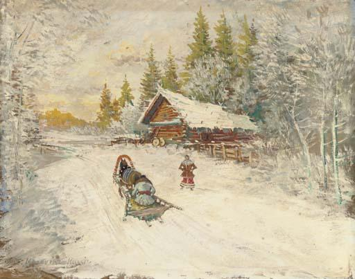 famous painting A winter scene with a horse-drawn sled of Konstantin Alekseyevich Korovin