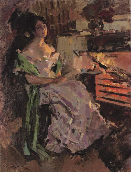 famous painting A woman reading by the hearth of Konstantin Alekseyevich Korovin