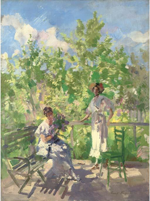 famous painting Afternoon tea on the terrace of Konstantin Alekseyevich Korovin