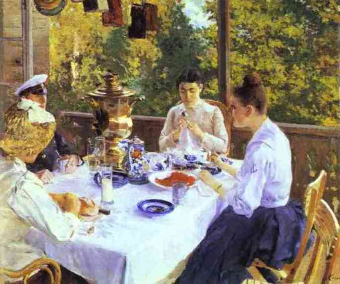 famous painting At a Tea Table of Konstantin Alekseyevich Korovin