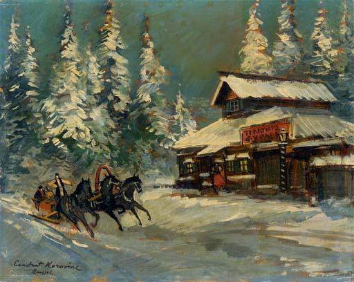 famous painting At the Tavern of Konstantin Alekseyevich Korovin