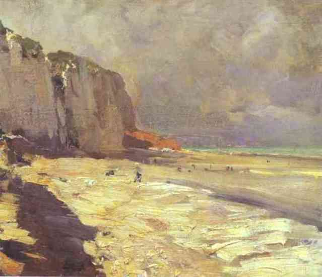 famous painting Beach at Dieppe. Study of Konstantin Alekseyevich Korovin