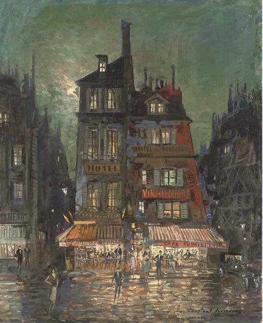 famous painting Before the Hotel Bourgondie, Paris of Konstantin Alekseyevich Korovin