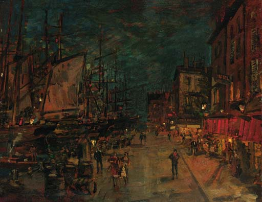 famous painting French Harbour-front by Night of Konstantin Alekseyevich Korovin