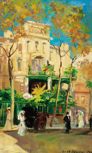 famous painting Hotel in Sunshine of Konstantin Alekseyevich Korovin