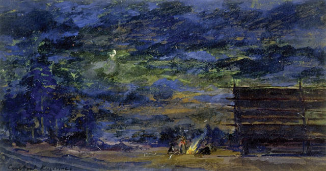 famous painting Nocturnal Landscape with a Group round a Fire of Konstantin Alekseyevich Korovin