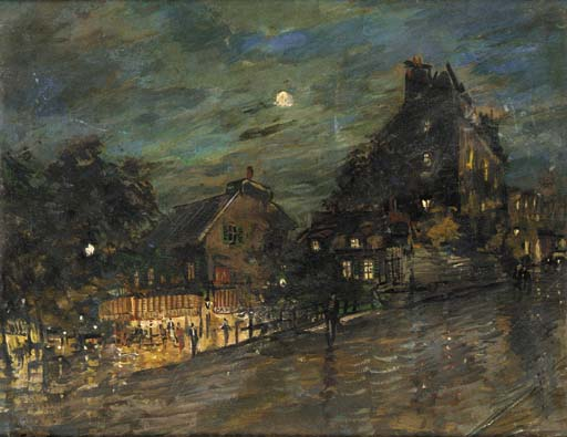 famous painting Paris by Night 1 of Konstantin Alekseyevich Korovin