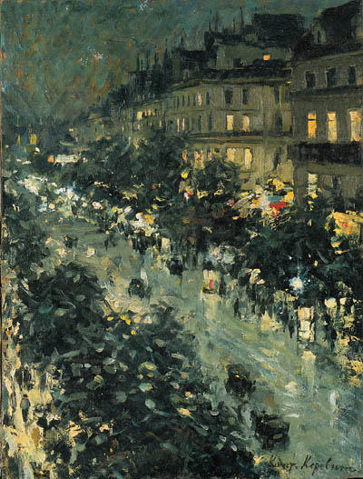 famous painting Paris by Night 3 of Konstantin Alekseyevich Korovin