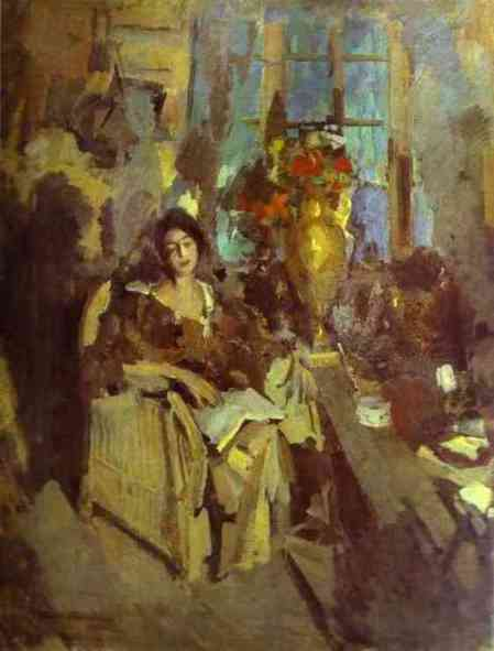 famous painting Portrait of a Woman 1 of Konstantin Alekseyevich Korovin