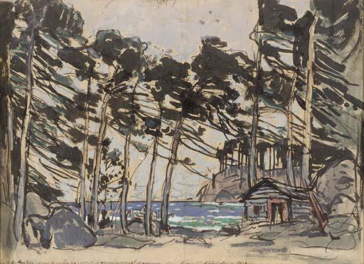famous painting Stage design depicting a Wooded Landscape by the Sea of Konstantin Alekseyevich Korovin