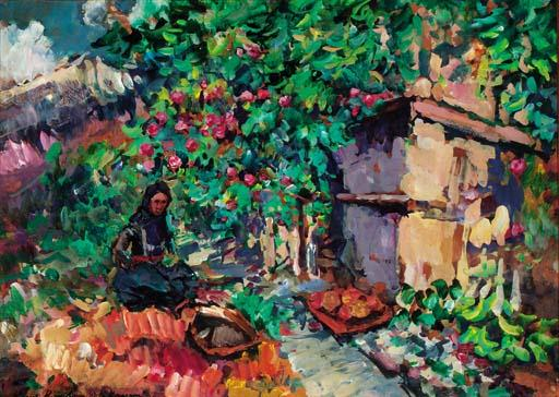 famous painting Summer - Apple Harvest of Konstantin Alekseyevich Korovin