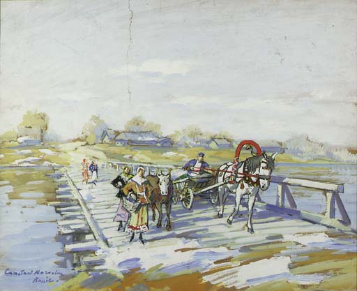 famous painting The Bridge across the River of Konstantin Alekseyevich Korovin