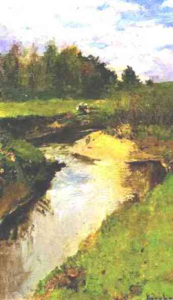 famous painting The River Vorya at Abramtsevo of Konstantin Alekseyevich Korovin