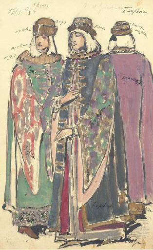 famous painting Two groups of costume designs for Khovanshchina. Male and female boyars of Konstantin Alekseyevich Korovin