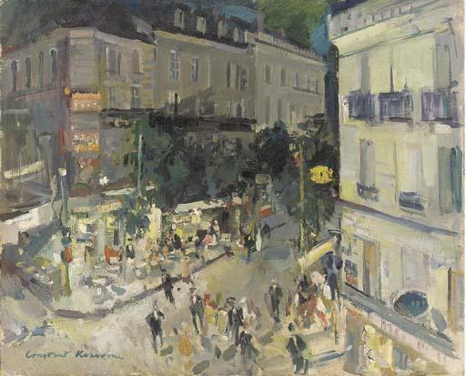 famous painting View of a Parisian street corner of Konstantin Alekseyevich Korovin