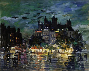 Konstantin Alekseyevich Korovin - View of Paris by Night