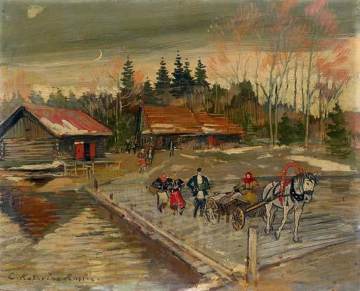 famous painting Village Procession of Konstantin Alekseyevich Korovin