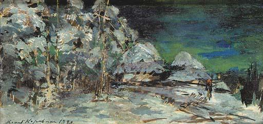 famous painting Winter Landscape at Night of Konstantin Alekseyevich Korovin