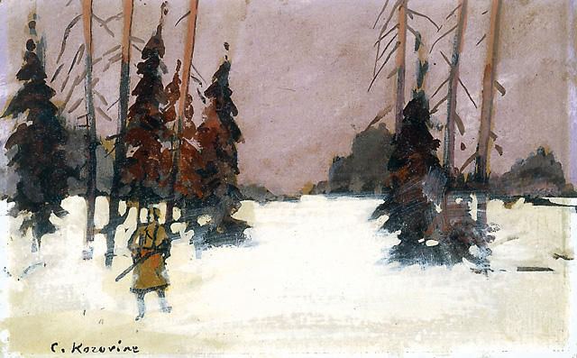 famous painting Winter Landscape with a Hunter of Konstantin Alekseyevich Korovin