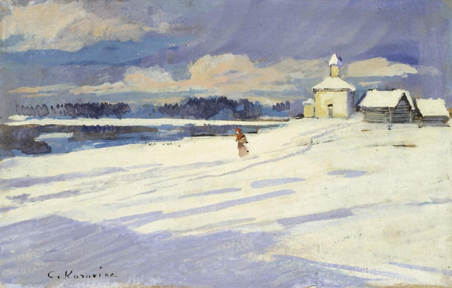 famous painting Winter Landscape with a small Church of Konstantin Alekseyevich Korovin
