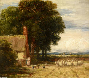 David Cox - Landscape With A Shepherd And Sheep