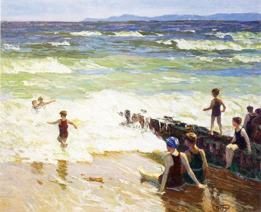 famous painting Bathers by the Shore (aka Bathers by the Sea) of Edward Henry Potthast