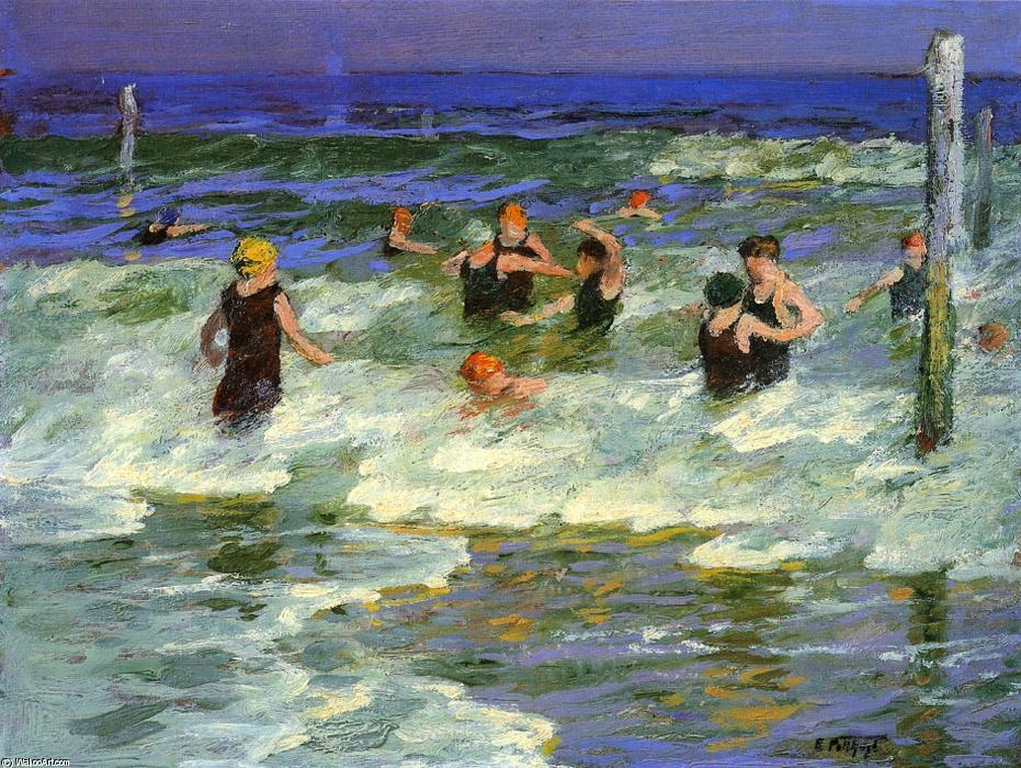 famous painting Bathing in the Surf of Edward Henry Potthast