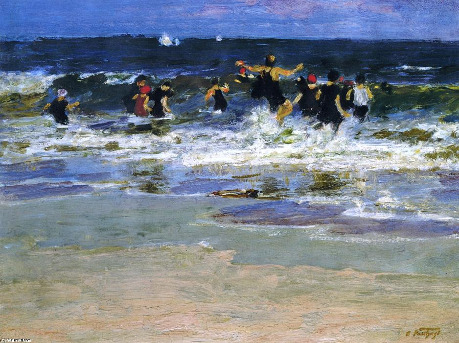 famous painting Beach Scene, Jumping in the Surf of Edward Henry Potthast