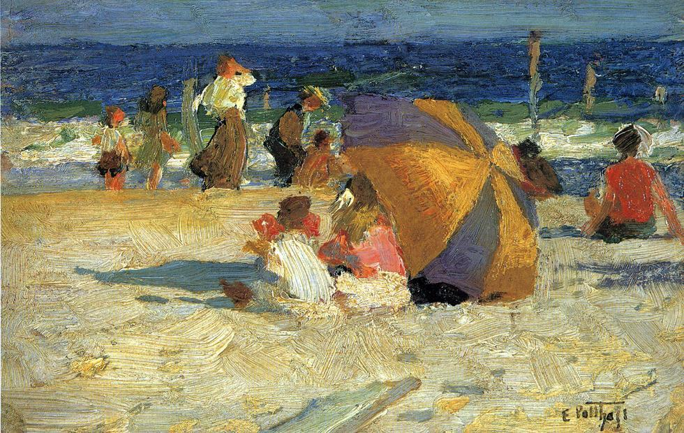 famous painting Beach Umbrella of Edward Henry Potthast