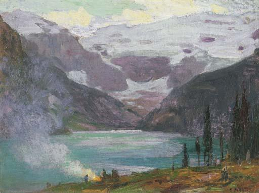 famous painting Camp by Lake Louise of Edward Henry Potthast