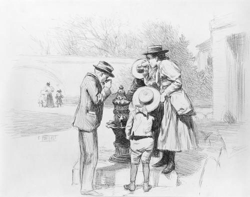 famous painting Figures at a Fountain of Edward Henry Potthast