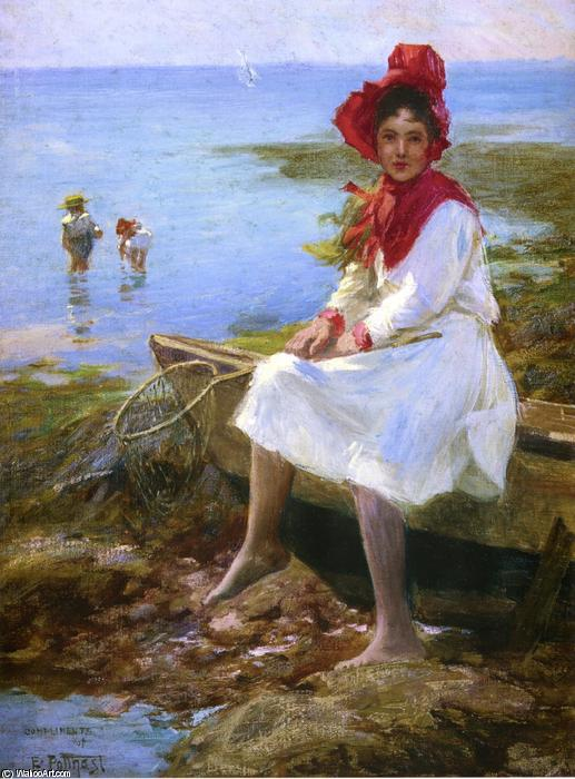 Buy Museum Art Reproductions Impressionism : Girl in a Red Bonnet 1 by Edward Henry Potthast | TopImpressionists.com