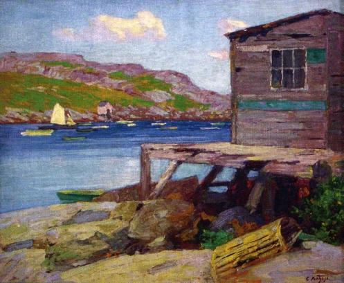 famous painting Lobster Shacks, Monhegan Island of Edward Henry Potthast