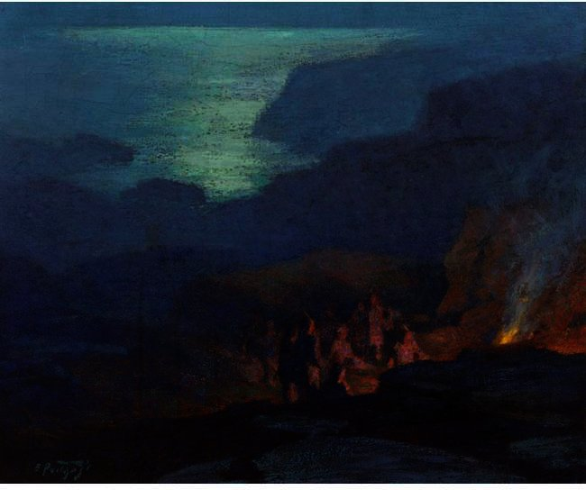famous painting Moonlight Campers of Edward Henry Potthast