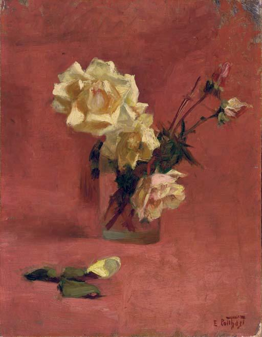 famous painting Yellow Roses in a Glass Vase of Edward Henry Potthast