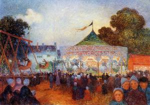 Ferdinand Du Puigaudeau - Carousel at Night at the Fair