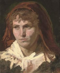 Frank Duveneck - Portrait of a lady, bust-length, in a red headscarf