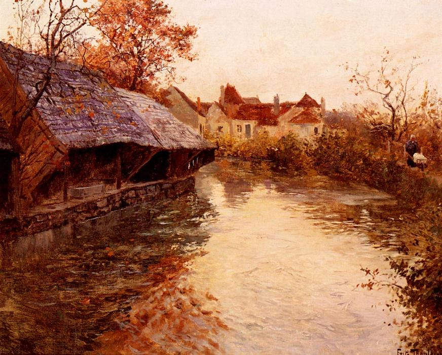 famous painting A Morning River Scene of Frits Thaulow