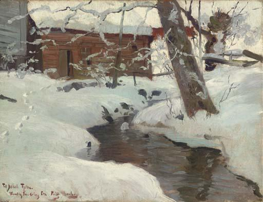 famous painting A Snow-covered Cottage by a Stream of Frits Thaulow