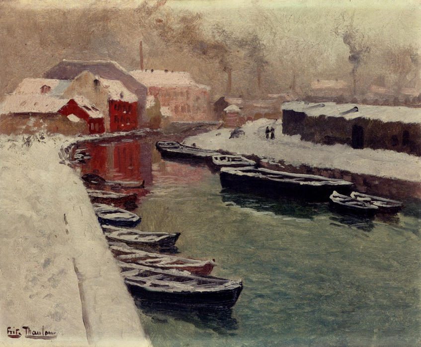 famous painting A Snowy Harbor View of Frits Thaulow