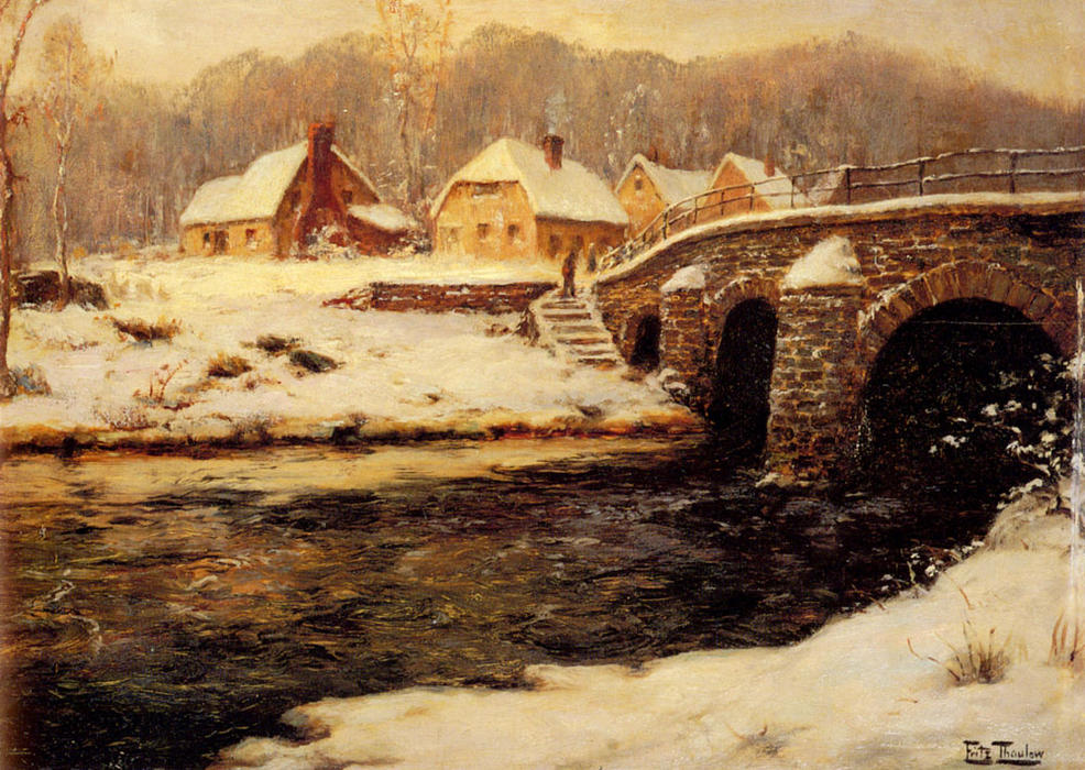 famous painting A Stone Bridge Over a Stream in Winter of Frits Thaulow