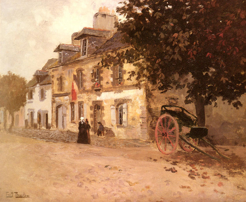 famous painting A Village Street in France of Frits Thaulow