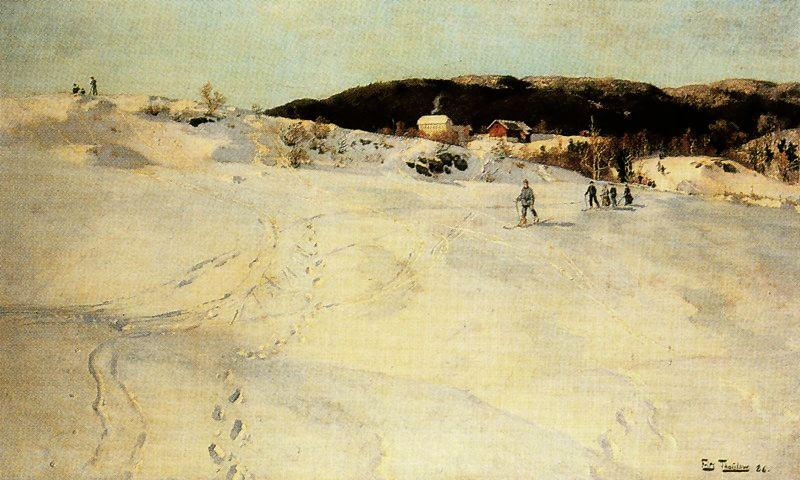 famous painting A Winter Day in Norway of Frits Thaulow