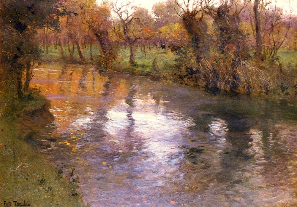 famous painting An Orchard on the Banks of a River of Frits Thaulow