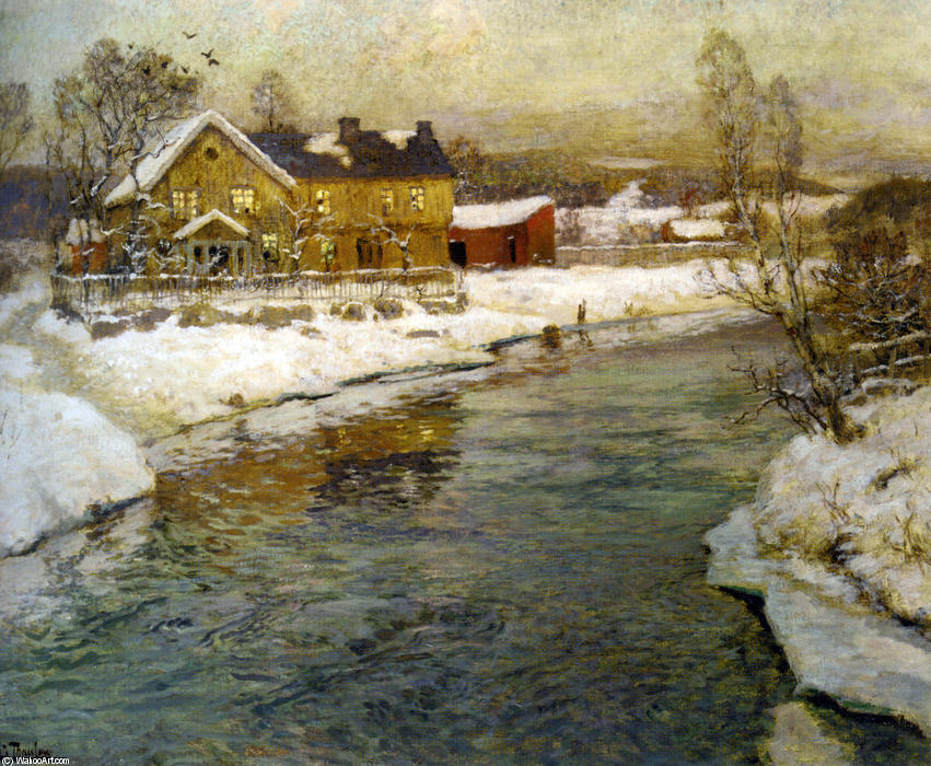 famous painting Cottage by a Canal in the Snow of Frits Thaulow