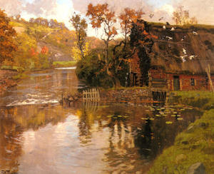 Frits Thaulow - Cottage by a Stream
