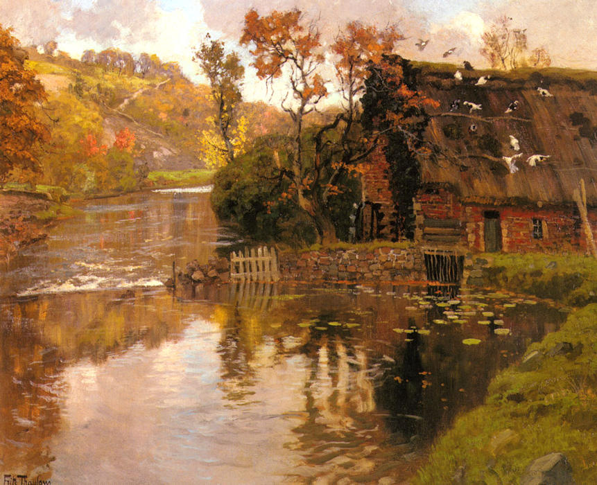 famous painting Cottage by a Stream of Frits Thaulow